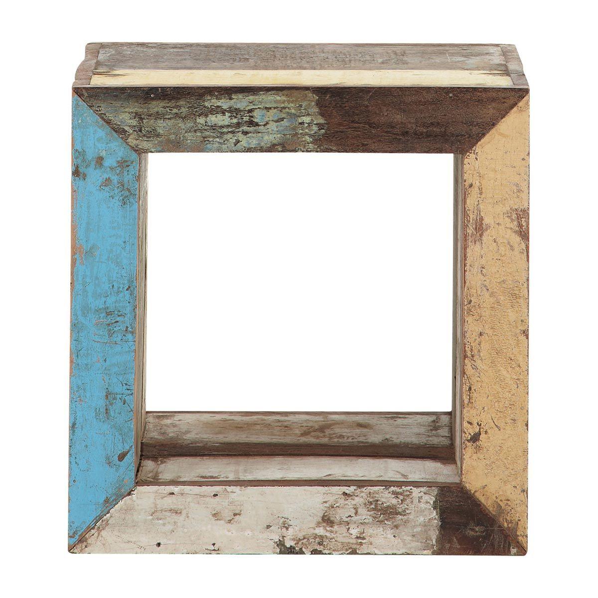 Mesa auxiliar cubo de madera reciclada calanque sweet - Mesas madera reciclada ...
