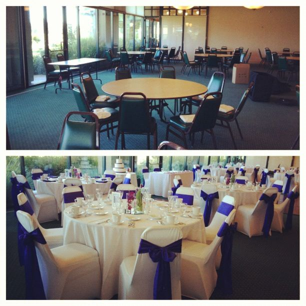 A Dramatic Before And After Wedding Set Up Our Ivory Spandex