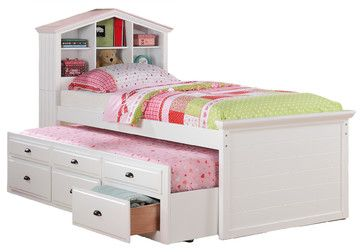 Kids Twin Storage Captain Bed W Bookcase Headboard Trundle Drawer