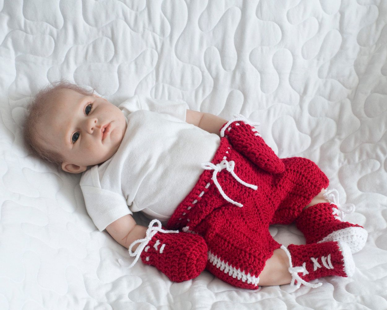BABY BOXING OUTFIT, Grandmabilt Crochet Boxer, Red White Boxing ...