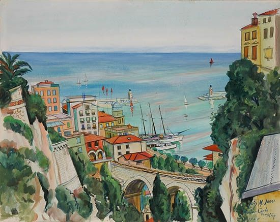 Lois Mailou Jones - Monte Carlo; Creation Date: 1955; Medium: Watercolor on board;