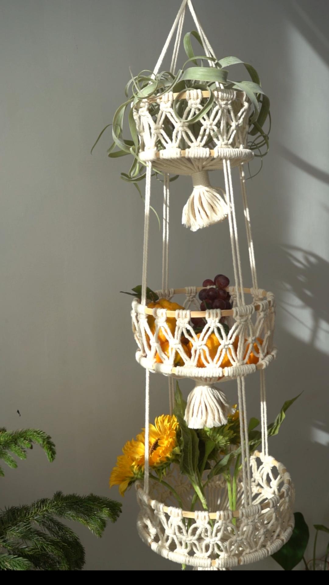 Macrame hanging fruit basket storage bag Rope plan