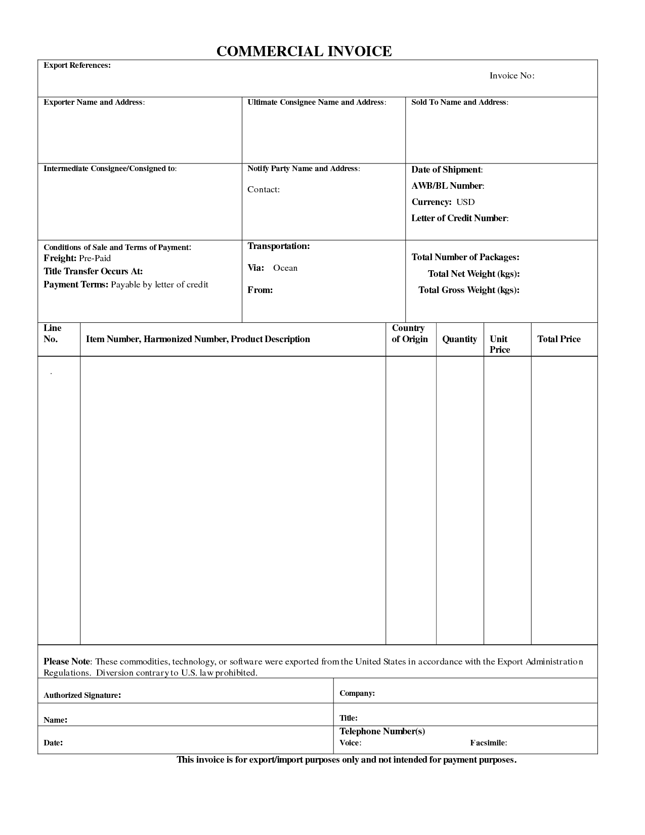 Commercial Export Invoice Sample Business Form Commercial