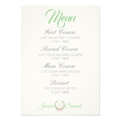 Spring Pink  Teal Flower Floral Wedding Menu Card  Wedding Menu