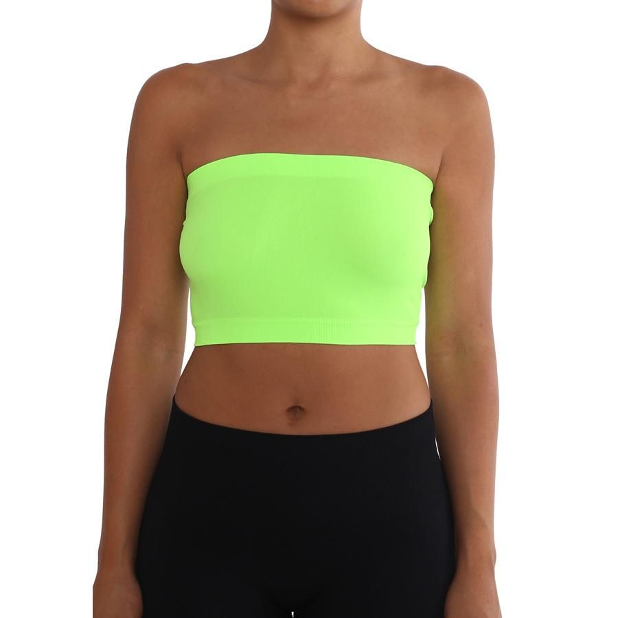 d49ab98773c01 Women s Strapless Seamless Tube Top Bandeau - Neon Green