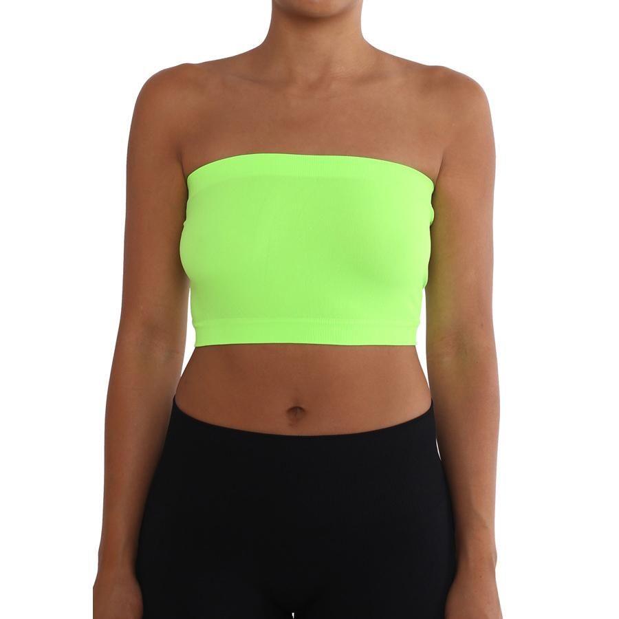 8bbe03cdda Women s Strapless Seamless Tube Top Bandeau - Neon Green