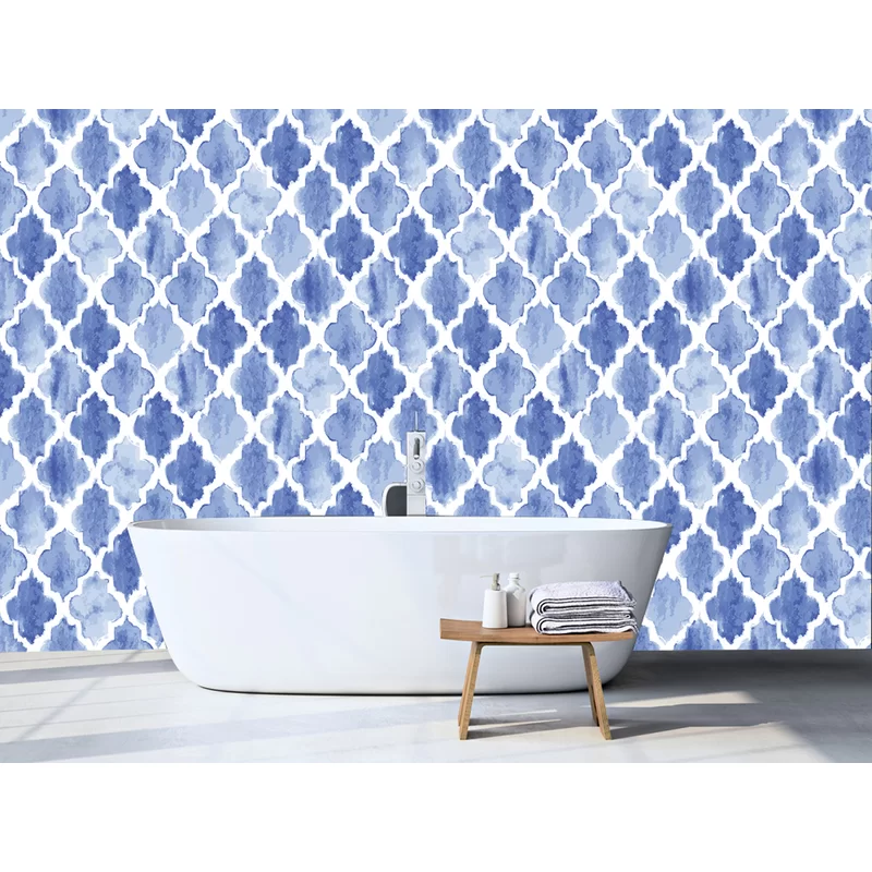 Leysin Moroccan Tiles 10 L X 24 W Peel And Stick Wallpaper Roll In 2021 Peel And Stick Wallpaper Removable Wallpaper Wallpaper And Tiles