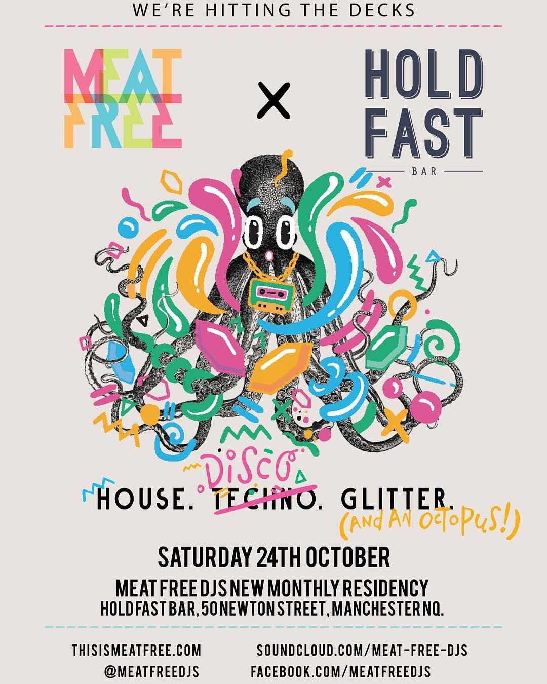 Meat Free DJs are back for a new monthly residency this weekend! Saturday night until 3:00am. You game?  #Manchester #MCRUK #NQ #MCRLIVE by hold_fastnq