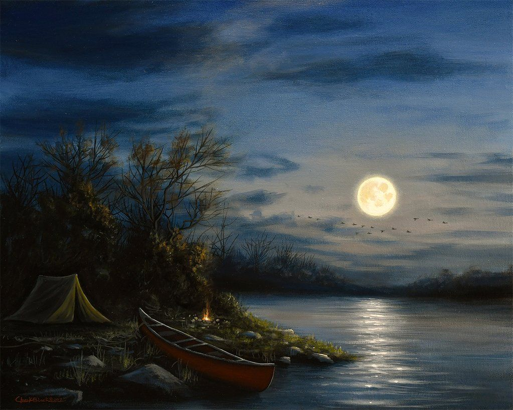 Full Moon Camping Art Print Early To Rise Camping Art Night