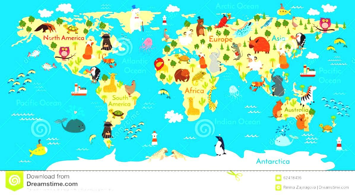 Animals world map kids stock photos images pictures vector animals world map kids stock photos images pictures vector illustration gumiabroncs Image collections