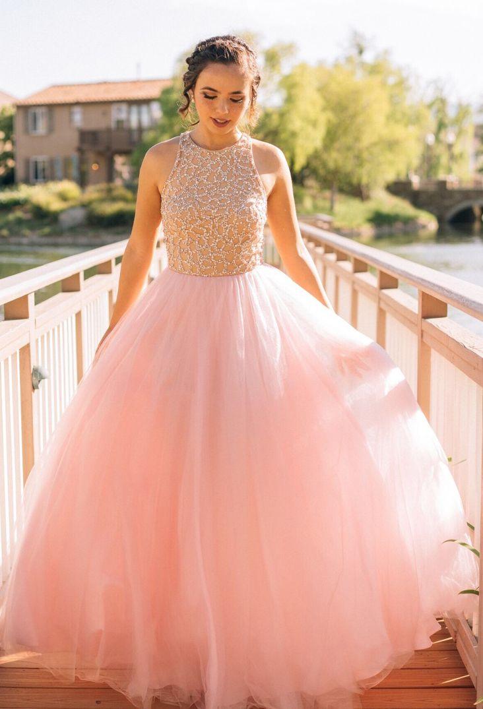 Pink wedding dressbeading prom dressa line prom dresscrew evening