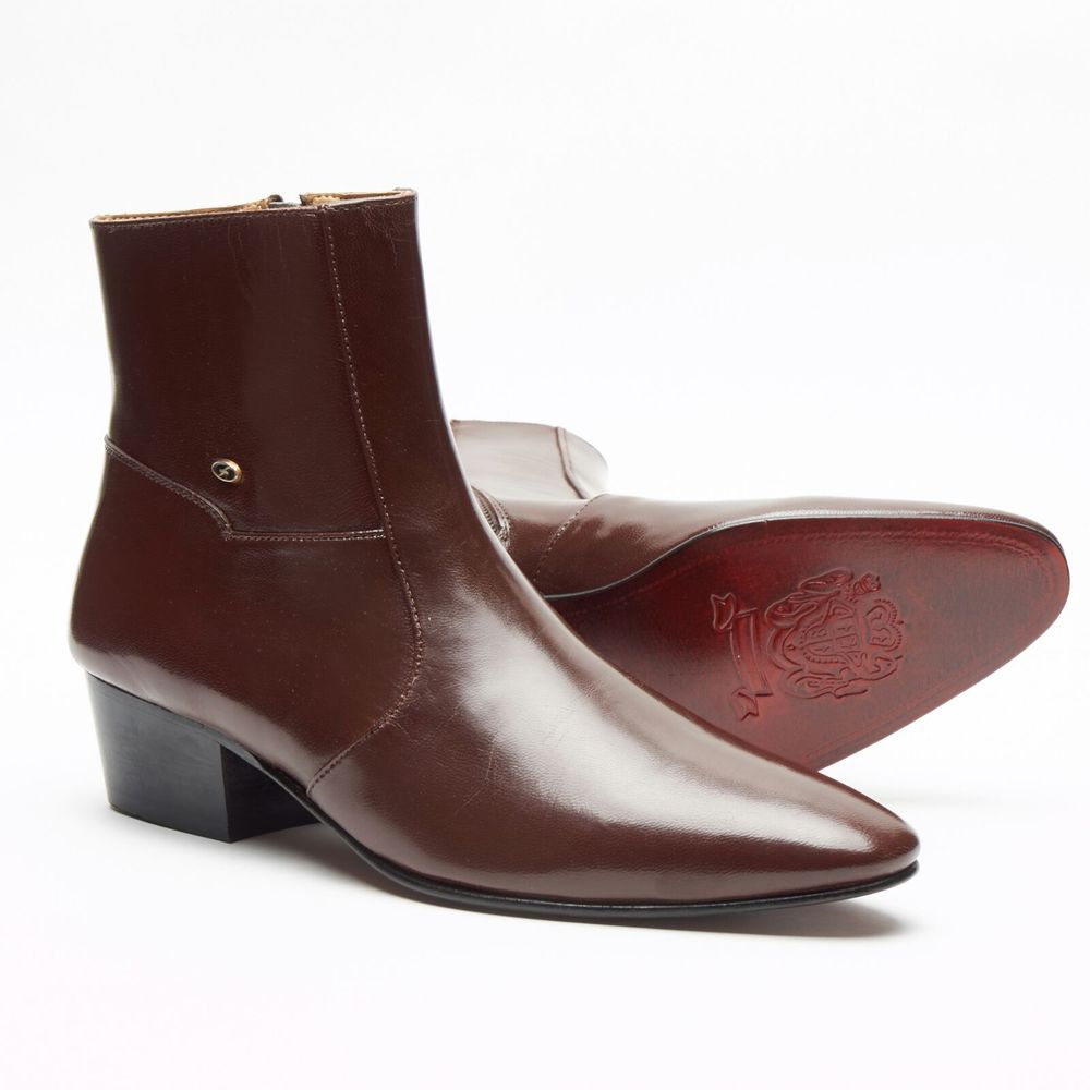 Men/'s Real Leather British Boots Pointed Toe Mid Cuban Heel Dress Formal Shoes