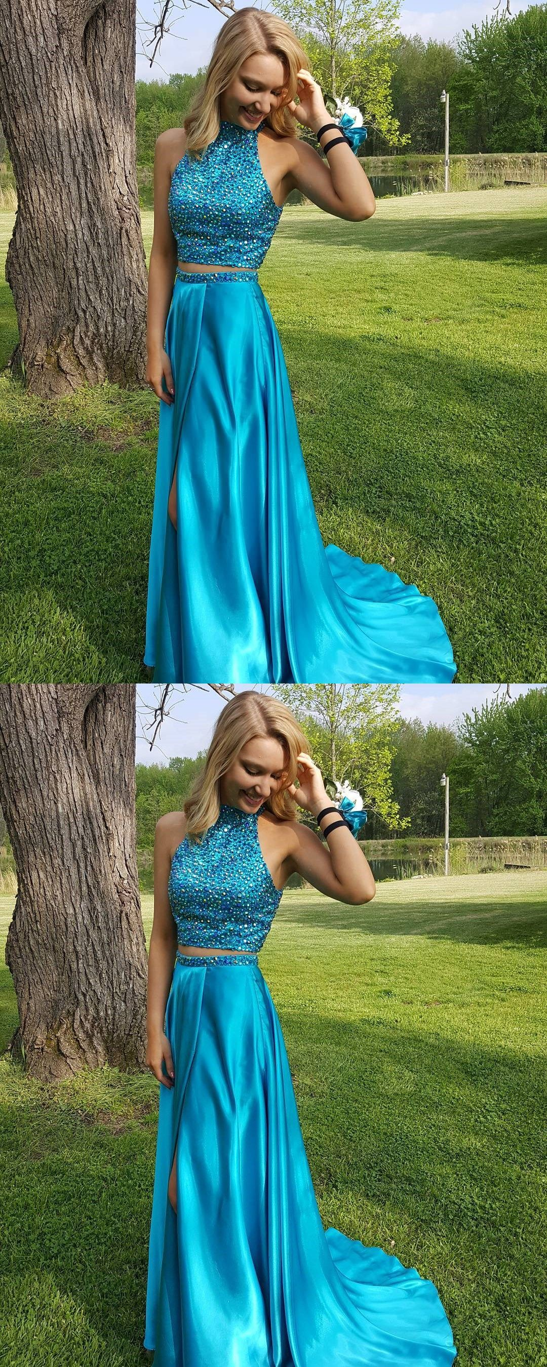 A line blue satin two pieces prom dress sexy halter party dress