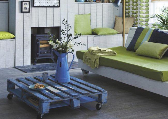 Ideen für Palettenmöbel couchtisch-rollen-landhausstil Möbel - couchtisch aus massivholz 25 designs