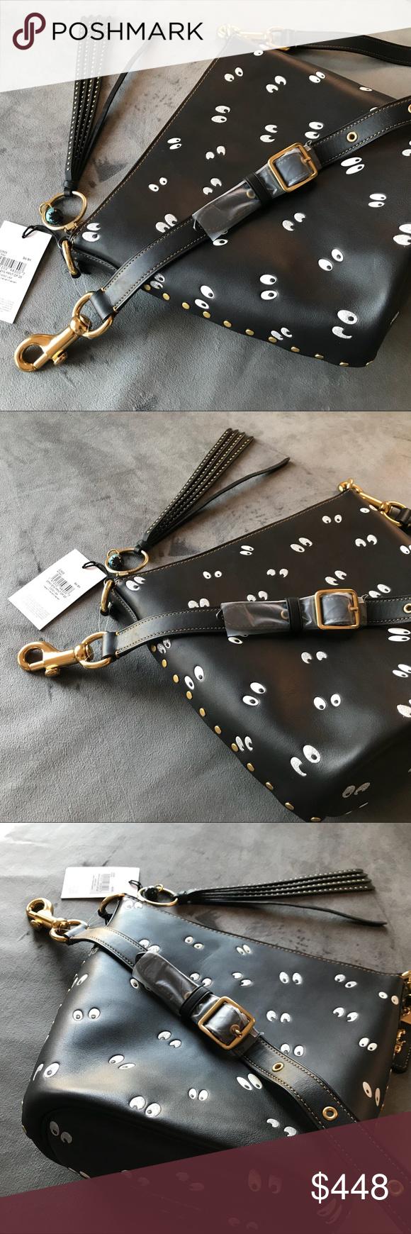 974f4a6af625 Disney Coach bag Spooky Eyes crossbody duffle 20 Glovetanned leather.  Inside zip  amp  snap