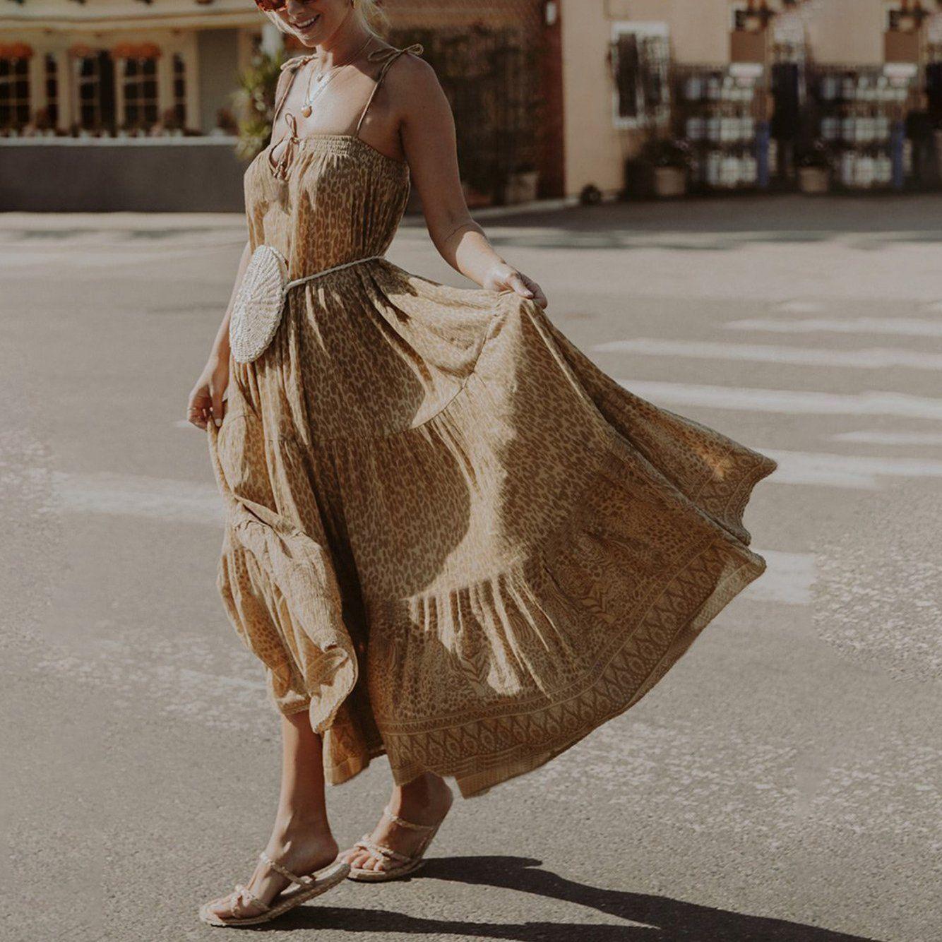 Dresses Leopard Print Maxi Dress Bohemian Beach Dress Bohemian Summer Dresses [ 1334 x 1334 Pixel ]