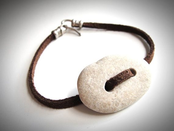 Beach Rock and Suede Leather = Beach! $22 from JewelryByMaeBee on Etsy.
