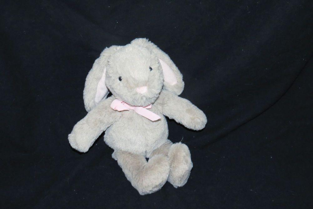 Pottery Barn Kids Gray Pink Bow Tan Bunny Rabbit Baby
