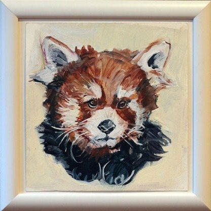 Red Panda Painting Baby Panda Childrens Room Art by pinkflapper, $150.00