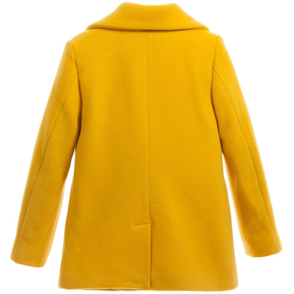 025be9925 Girls beautiful, bright mustard yellow, wool coat by Moschino Kid-Teen with  a stunning, synthetic fur collar. The collar can be removed and re-attached  ...