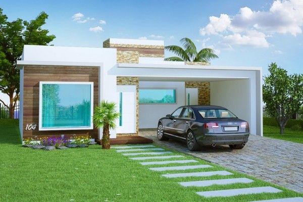 Projetos e fachadas de casas t rreas e modernas fachadas for Casa moderna gratis