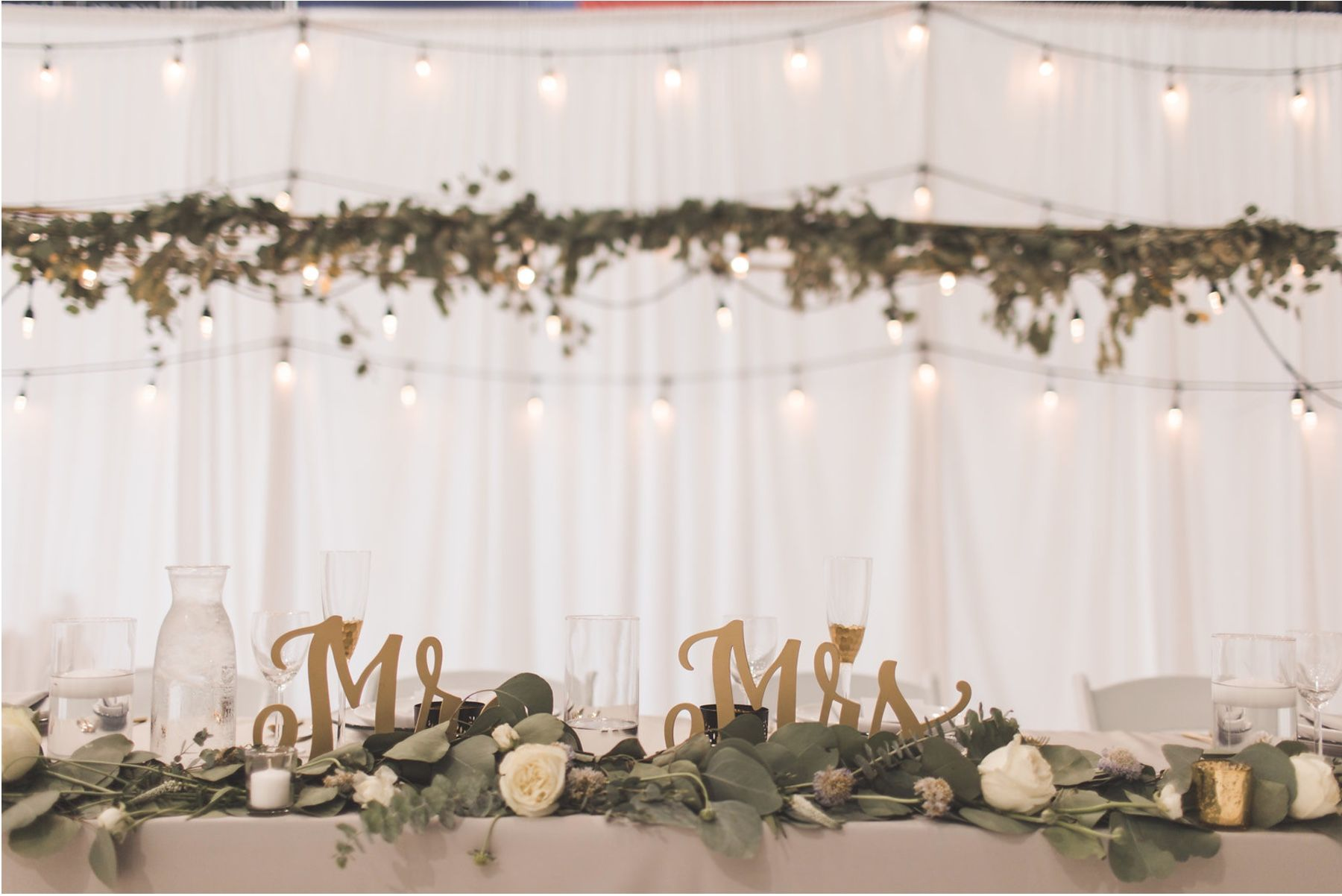 Wedding Reception Head Table Grey Greenery And White
