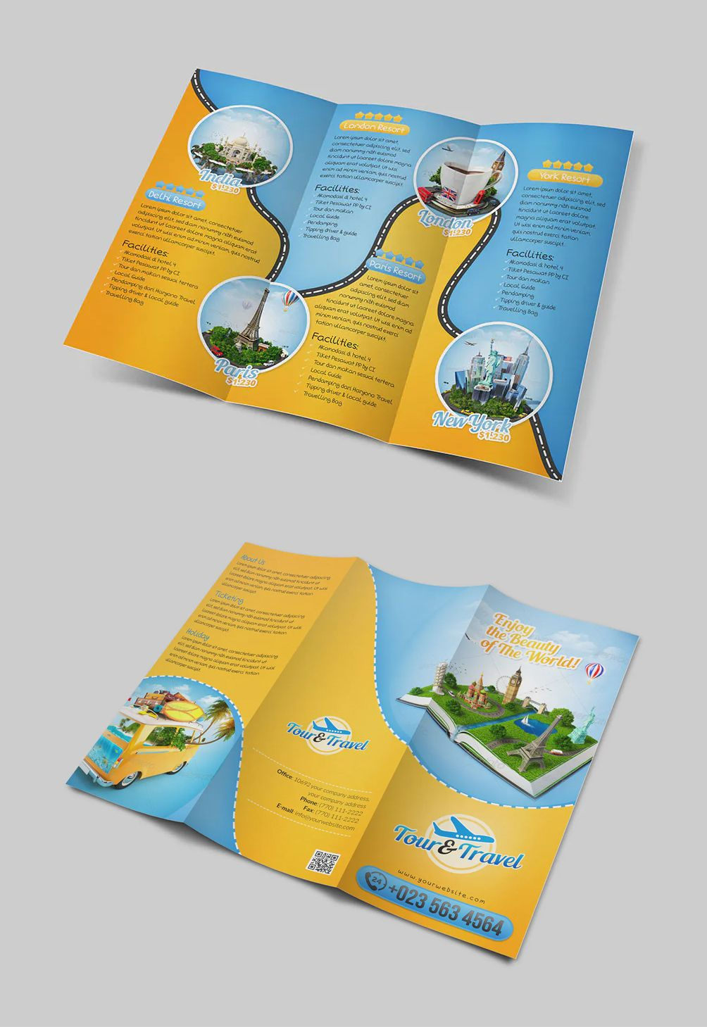 Tour & Travel TriFold Brochure Template in 2020 Trifold