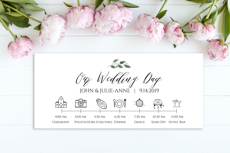 Wedding Timeline Card Wedding Icon Timeline Itinerary Etsy Wedding Timeline Template Wedding Timeline Wedding Icon