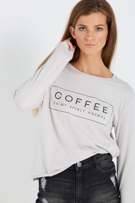 cd00ad47844ddb Tbar Long Sleeve Graphic Chop Tee, COFFEE SPIRIT ANIMAL/ICE GREY ...