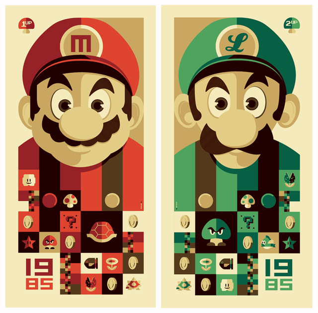Vintage Super Mario Brothers Poster Brothers Artwork Tom Whalen Mario