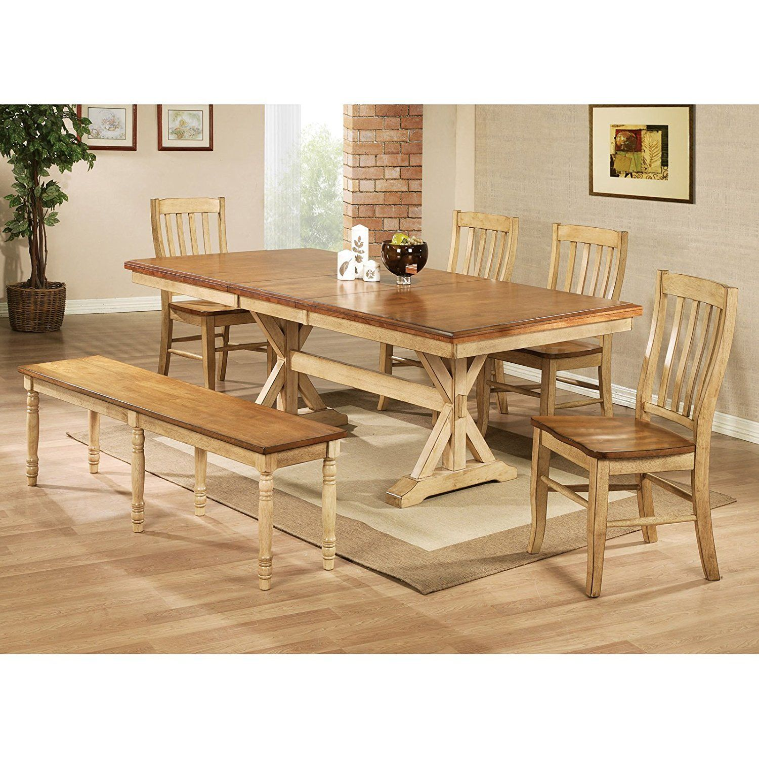 Winners ly Quails Run 84 in Trestle Dining Table with 18 in