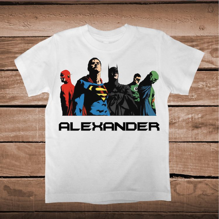 Justice League Superhero T Shirt With Name Personalized Boys Shirts Superheroes Birthday Prime Decals