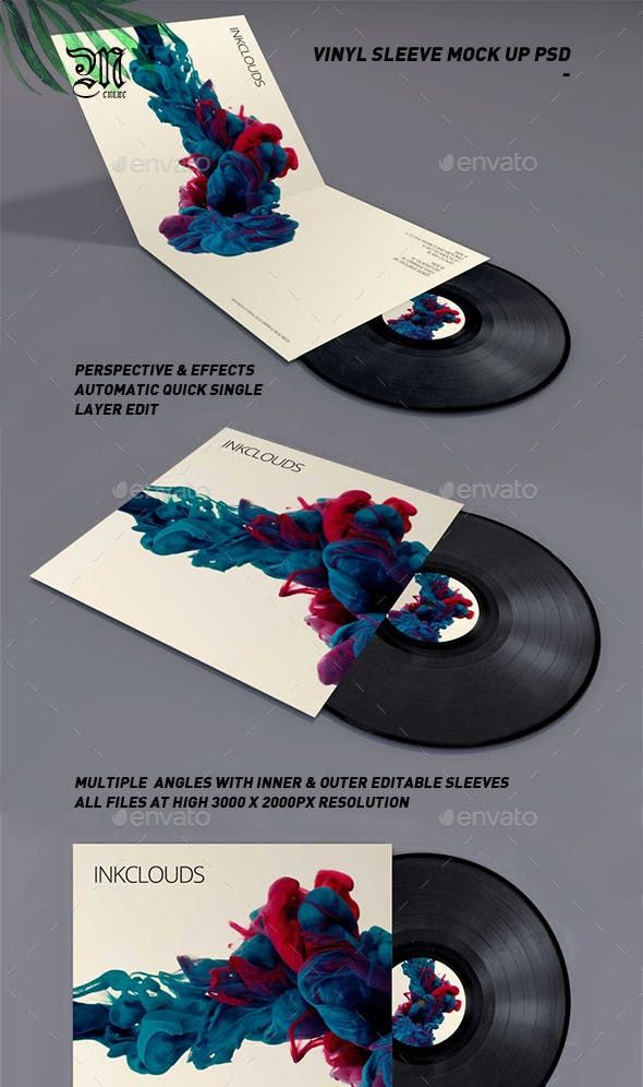 Double Sleeve Vinyl Mock Up Psd Mockup Print Mockup Vinyl