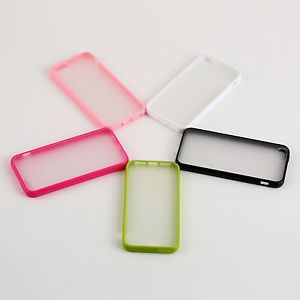 Silicone Frame TPU Bumper Matte Clear Hard Back Case Cover For Apple iPhone 5 HE