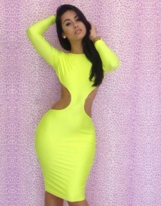 0293e4220 Fluorescent Backless Bodycon Dress Item No. : W3225A Weight : 0.3 KG Goods  click count: 14 Market Price : US$ 9.89 Sales Price : US$ 5.65