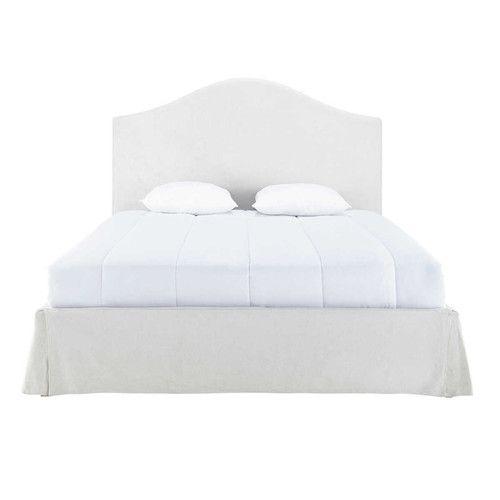 Beziehbares Bett aus Leinen 160 x 200 ecru