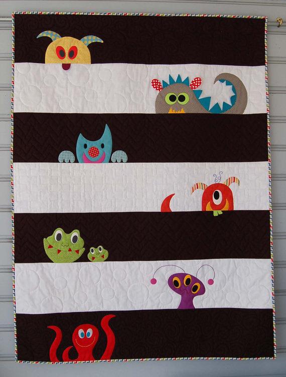 Monster Crib Quilt, Monster Bedding, Little Monste