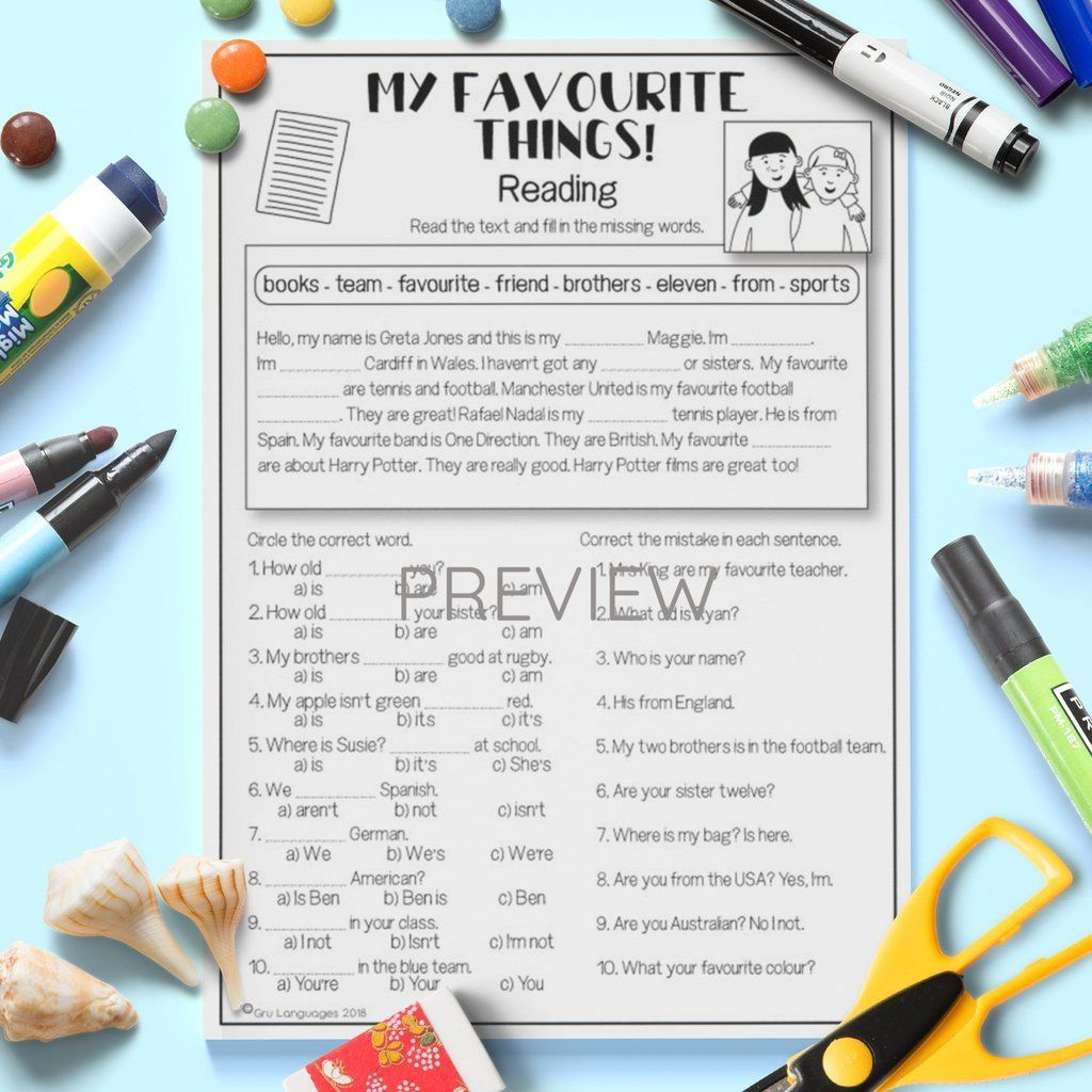 My Favourite Things Activity