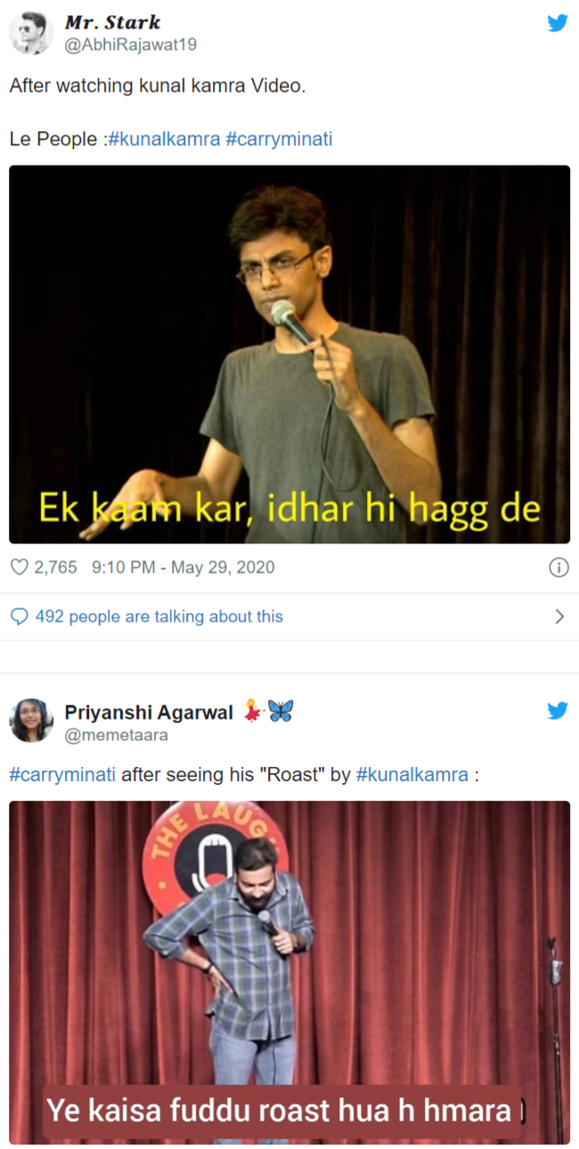 Kunal Kamra Trolled Harshly After He Tried To Teach And Roast Carry Minati In 2020 Carry On Memes Funny Memes