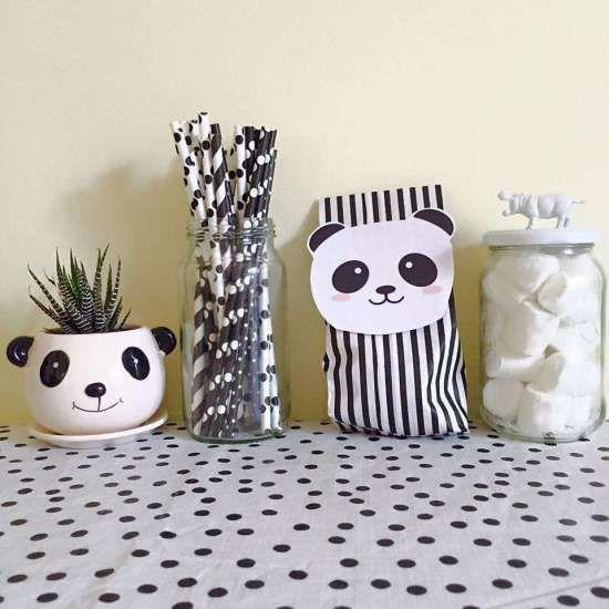 panda-party straws paper bags