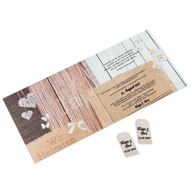 Einladungskarte Hochzeit Landhaus Chic