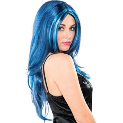 Blue Candy Wig 29 99 Party City I Love This Wig Colored Wigs Wig Party Wigs