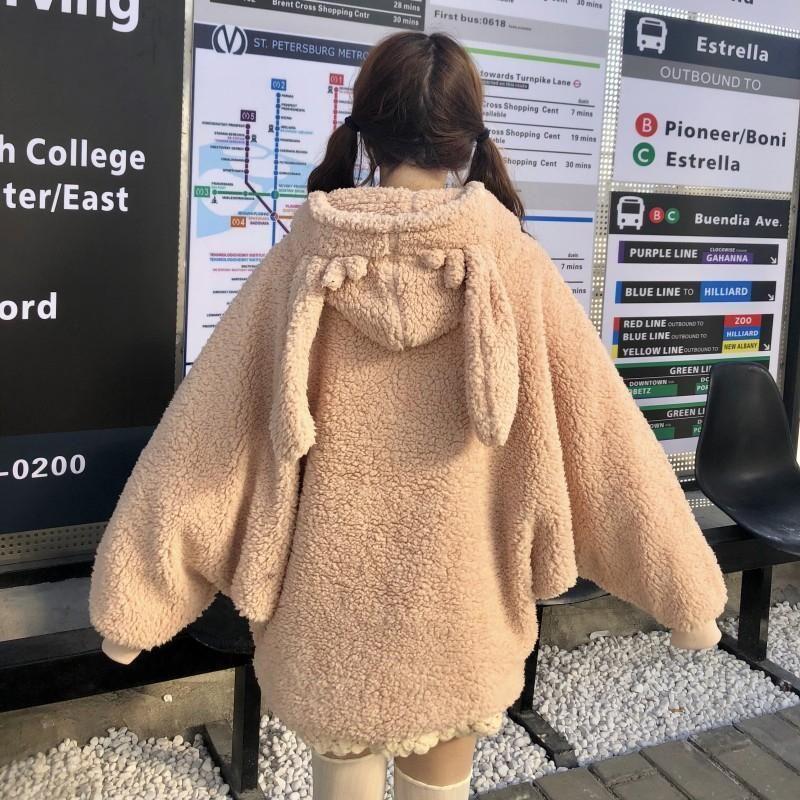 BEAR RABBIT Ears Plush Cardigan Sweater Lolita Hooded Student Coat Cute