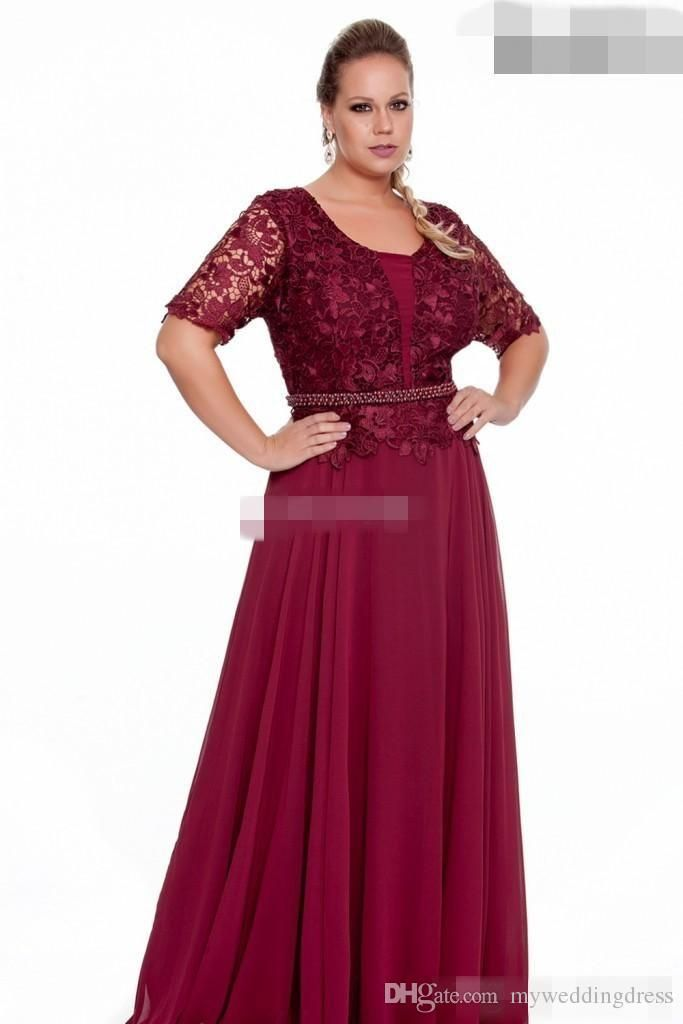 Burgundy Plus Size Mother Of The Bride Dresses With Short Sleeve Vintage Lace Bead Plus Size Maxi Dresses Evening Dresses Plus Size Mother Of The Bride Dresses