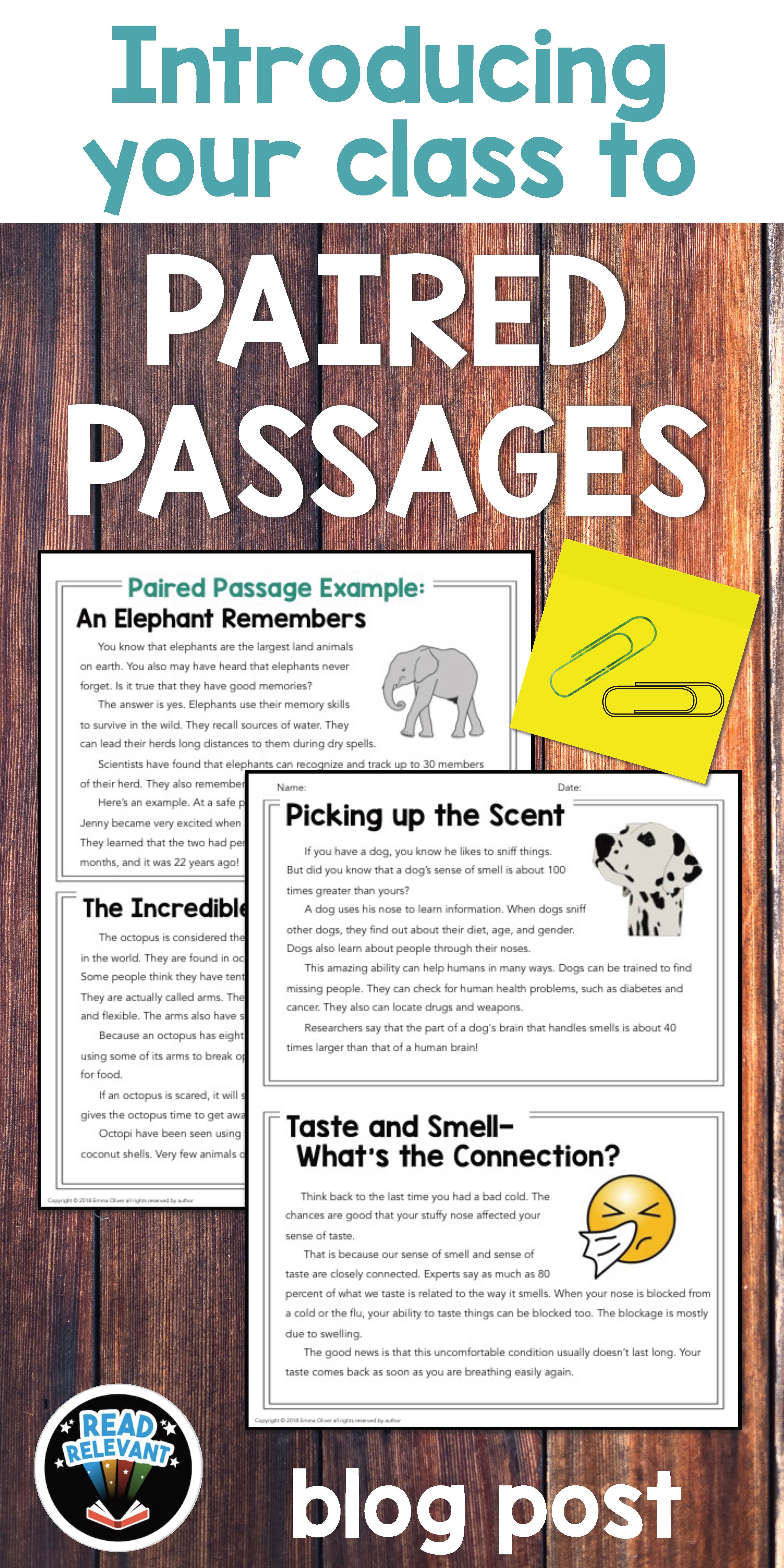 Teaching Paired Passages Read This First