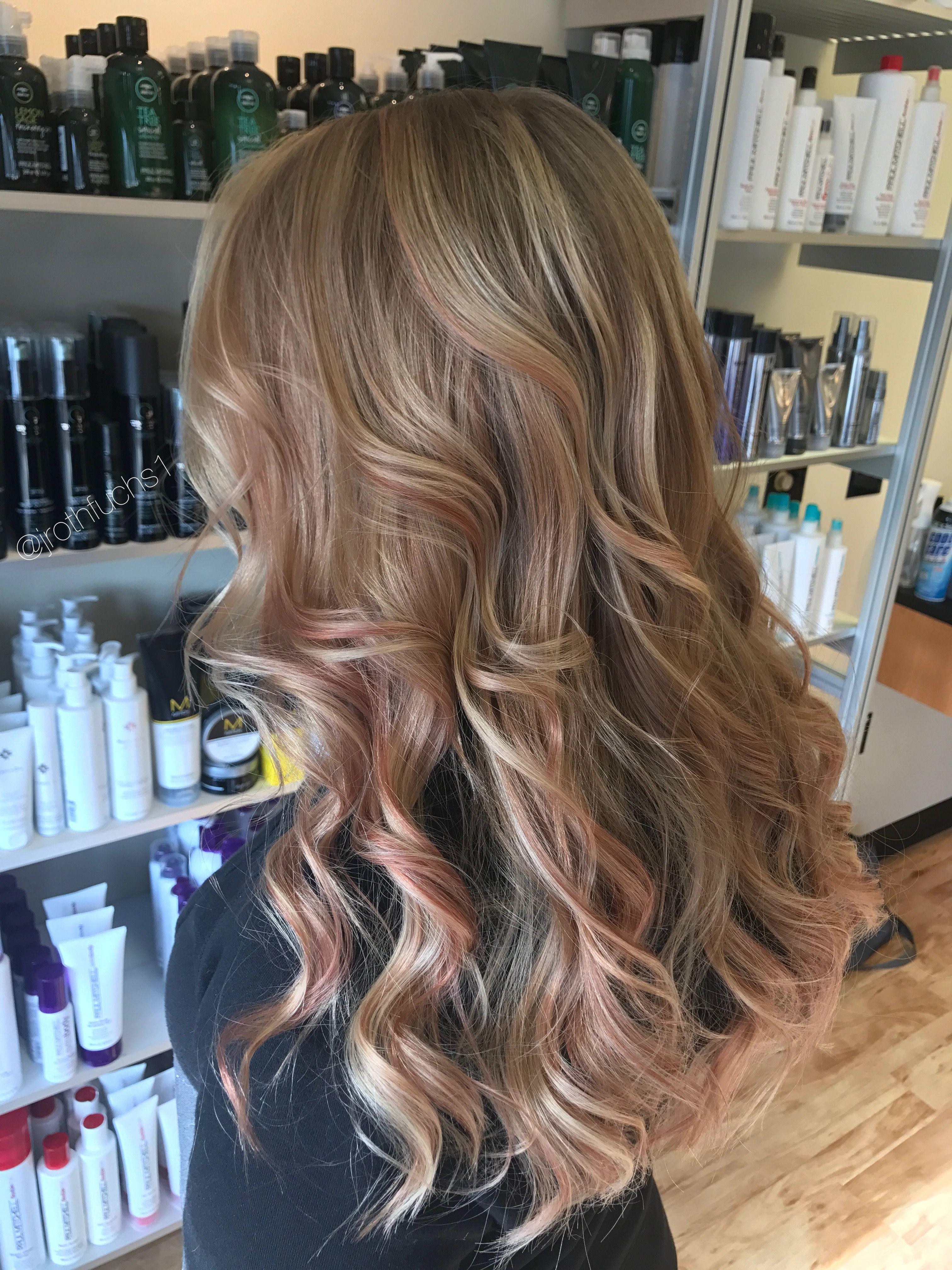 Rose Gold Hair Balayage Rose Gold Highlights Blonde Hair