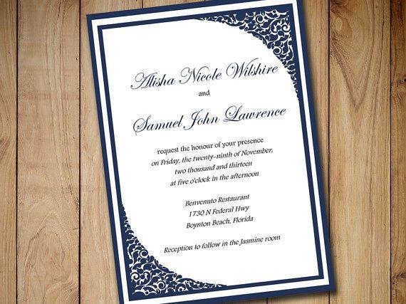 Printable Wedding Invitation Template Download - Dark Navy Blue - formal invitation
