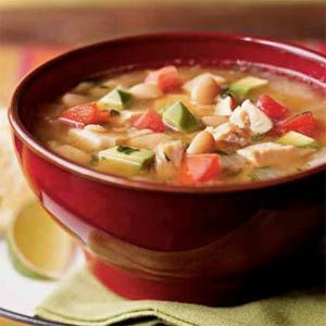 This top-rated Southwestern chicken soup is a great way to use up leftover chicken.  The creamy chunks of avocado add a richness that's unusual to find in most chicken soups.