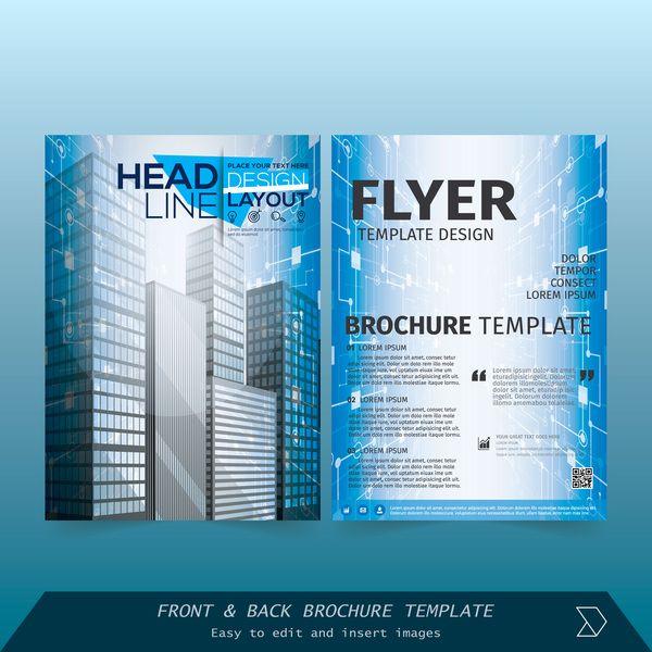 Eps Gratuits Dossier Styles Bleu Dépliant Couverture Design