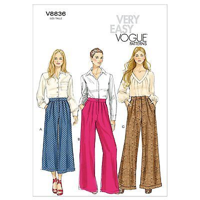 Very Easy Vogue 8836 Wide Leg Pants Culottes Trousers Sewing Pattern ...